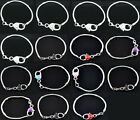 4 Silver Hot Plated New Heart Clasp Bracelets Fit European Beads M0286