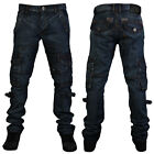 NEW MENS G72 DENIM GD-214 BLUE REGULAR FIT CARGO JEANS ALL WAIST & LEG SIZES
