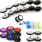 3 pairs of Fake Ear Plugs Cheater Faux Gauges Stainless Steel Black White Blue