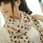 Cute Lovely Women Heart Printed Chiffon Light Pink Beige Scarf Wrap Shawl Stole