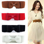 Womens Delicate Fashion Wide Elastic Stretch Bowknot Bow Tie Belt Waistband B87K