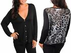 Women TRUE PLUS SIZE 2X, 3X, Leopard Print Chiffon Back BLACK Cardigan Top