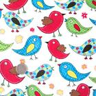 TWEET - RAINBOW BIRDS - COTTON FABRIC kids children nursery patchwork floral