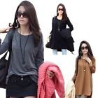 Spring Women's High-low Aysmmetric Solid Side Split Zippered Long Top Tee Blouse