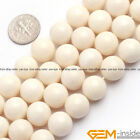 "Natural Cream White Coral Gemstone Round Beads For Jewelry Making Strand 15"" Yb"