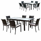 Siena Gorgeous Rattan Extending Garden Table + 6 Matching Stacking Arm Chairs