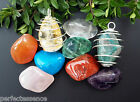 Large Crystal Tumblestone in a Spiral Cage Pendant - List B - Huge Selection!