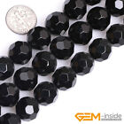 """AA Grade Faceted Black agate Jewelry Making gemstone beads strand 15"""" 64 Faces"""