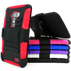 For LG G Flex Heavy Duty Rugged Hybrid Hard Case Cover Belt Clip Holster w/Stand