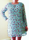 LADIES PINK OR MINT FLORAL LONG SLEEVED, FULLY LINED DRESS, LONG TOP SIZE 8-14