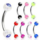 New Surgical Steel Curve Eyebrow Cartilage Bar with Clear Gem Coloured Balls 16g