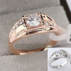 A1-R063 Men's 0.86ct Band Ring 18KGP use Swarovski Crystal Size 6.5-14