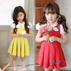 Lovely Kids Toddler Girls Clothing Bowtie Pure Color Round Collar Dress Sz3-8Y