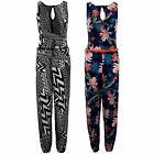 Women's Belted Sleeveless All In One Zigzag Aztec Floral Print  Ladies Jumpsuit