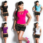 Sexy Women Ladies Teared Ripped Style Clubwear Dance Top Shirt UK : 6 8 10