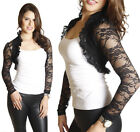 Lace Crochet Ruffle Collar Crop Shrug Bolero Jacket Shrug Cropped Cardigan Top