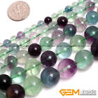 "Natural Rainbow Fluorite Round Beads For Jewelry Making 15"" 6MM 8MM 10MM 12MM"