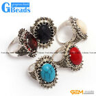 Fashion 13x17mm oval beads tibetan silver marcasite ring 20x30mm 6 materials