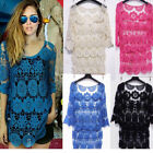 Sexy Hollow Lace Crochet Floral Smock Top T Shirt Knit Jumper Cape Blouse Poncho