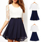 Fashion Sexy Womens Ladies Chiffon Dress Lace Top Mini Dress Casual Skater Cute