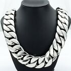 31mm Super Heavy Curb Link Mens Chain Silver Tone 316L Stainless Steel Necklace