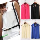 Sexy Women Rivet Chiffon Sleeveless T-Shirt Blouse Stand Collar Vest Tops Hot