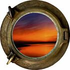 Huge 3D Porthole Red Sky at Night Wall Stickers Film Mural Art Decal Wallpaper