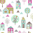 PETITE ST - HOUSES - MULTI ON WHITE - DASHWOOD STUDIO COTTON FABRIC