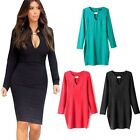 Women Sexy Slim OL Long Sleeve Cocktail Party Evening Bodycon Pencil Dress  S-XL