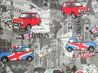 "Mini Cooper car fabric ""London Bridge"" grey black red blue Benartex"