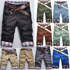 New Fashion Stylish Mens Short Pants Lattice Flanging Cropped Trousers+NO Belt