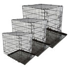 Folding Portable Puppy Carrier Dog Cage Metal Crate Kennel Pet Cat Tray Home