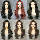 "26"" Heat Resistant Long Curly Black / Brown Lace Front Wig"