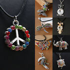 Retro Turtle Colorful Crystal Silver Pendant Necklace Women's Mens Jewellery