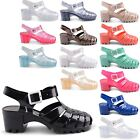 NEW LADIES MID HEEL SUMMER CLEAR JELLY CLOSED TOE GLADIATOR SANDALS UK 3-8