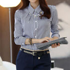 Spring New OL Commuter Button Down Lapel Shirt Slim Women Long Sleeve Stripe Top
