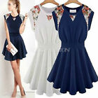Womens pleated sleeveless Floral Ruffle Cocktail Evening Prom Summer Mini Dress