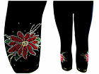 Plus Size Capri Leggings Embellished Rhinestone & Stud Red Flower Floral Design
