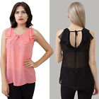 Chiffon sleeveless Blouse with collar V back S, M, L, Wear to Work, Solid