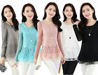 New Korean Women Lady Long Sleeve Blouse Casual Slim Embroidery Lace Lace Tops