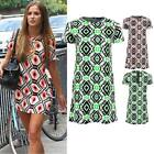 Ladies Celeb Luminous Neon Green Coral Aztec Print Shift Women's Dress 8-14