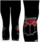 Plus Size Capri Length Leggings Embellished Rhinestone Red Margarita's Cocktail