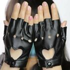 Fashion Women PU Leather Mittens Fingerless Cool Punk Driving Cycling Gloves
