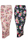 Womens Ex New Look Summer Black Pink Floral Pencil Bodycon Tubeskirt
