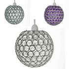CRYSTAL BALL CEILING LIGHT SHADE PENDANT CHANDELIER ACRYLIC EFFECT 120 JEWELS