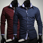 Stock Mens Luxury Casual Slim Fit Stylish Dress Shirts Long sleeve Formal Shirt