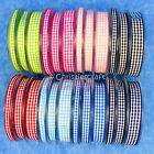 Gingham Ribbon 20m Reel Choice of Widths & Colours 6mm 10mm 15mm