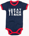 EAT THE RICH  Ringer Baby Body navy/red