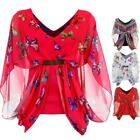 Ladies Zigzag Butterfly Print Gold Buckle Chiffon Lined Gypsy Batwing Womens Top