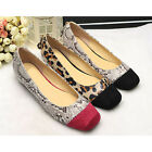 US5-9 Fashion Leather like Snakeskin Leopard Hidden Wedge Square Toe Women Shoes
